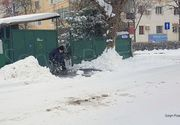 Fotografie emotionanta! Un barbat imobilizat in scaunul cu rotile a iesit, in frig, sa deszapezeasca trotuarul din fata casei