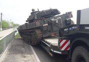 Accident pe DN1B! Un tanc al armatei s-a rasturnat dintr-un trailer - Traficul rutier este restrictionat in zona