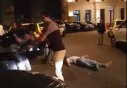 Scene socante in Centrul Vechi al Capitalei! Bataie ca in vestul salbatic: Doi tineri lasati inconstienti pe asfalt