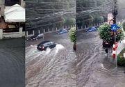 Ploaia torentiala a facut prapad in Targu Jiu. Municipiul are probleme grave cu reteaua de canalizare
