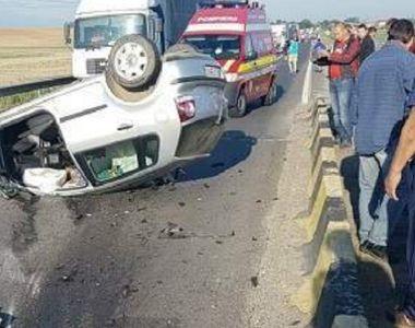 Accident TERIBIL! Un barbat a fost strivit de o masina care s-a rasturnat peste el ,...