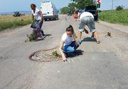 Protest inedit pe un drum judetean din Vrancea! Mai multi localnici au incercuit gropile din asfalt si au plantat flori si pomi in ele!
