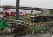 Grav accident la Sibiu! Sunt 30 de victime pe autostrada, dupa ce un autobuz s-a rasturnat