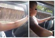 Inconstienta dusa la extrem! Un copil de 12 ani este lasat sa conduca singur si laudat chiar de catre parinti
