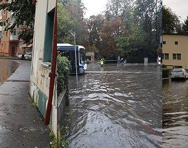 Furtuna a facut prapad la Targu Jiu! Zeci de strazi au fost complet inundate, iar...