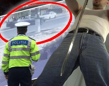 Scene incredibile petrecute in plina strada, in Romania! Politist amenintat cu sabia de...