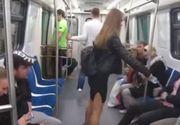 VIDEO Tanara filmata aruncand clor pe zonele intime ale barbatilor, la metrou