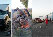 Accident cu trei victime în Vrancea, după ce un TIR, un tractor şi o autoutilitară s-au ciocnit pe DN2