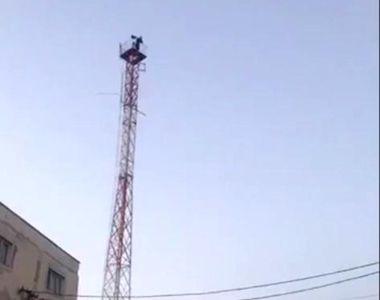 Un bărbat din Brăila a ameninţat că se aruncă de pe o antenă. Momentul tulburător fost...