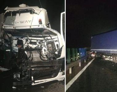 Accident teribil aproape de Vama Nădlac! Două TIR-uri s-au ciocnit, fiind nevoie de...