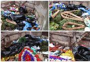 Imagini HORROR surprinse într-un oraş din România! Cruci, gunoaie şi coroane de flori aruncate în faţa unei instituţii! Te îngrozeşti când vezi ce e acolo!