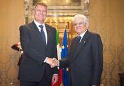 Klaus Iohannis l-a primit, la Palatul Cotroceni, pe omologul sau italian Sergio Mattarella