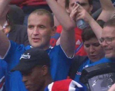 Tipul din imagine este presedintele Islandei. A refuzat un loc VIP la meciul cu Franta...