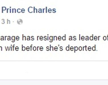 Prima reactie a Casei Regale dupa ce extremistul Nigel Farage a demisionat