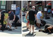 Scene dramatice au avut loc pe o strada din Boston. O femeie incearca cu disperare sa isi salveze catelul rasa beagle, dupa ce un pitbull agresiv l-a atacat. Atat femeia cat si patrupedul sau sangerau