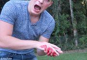 Trebuia sa taie fructe cu sabia, dar si-a taiat degetele. O filmare pentru Youtube a avut un sfarsit tragic