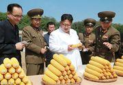 """Liderul comunist din Coreea de Nord socheaza din nou! Kim Jong-un se bucura de recolta de """"superporumb"""", in timp ce inundatiile au lasat mii de oameni fara locuinte"""