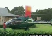 La fast food cu elicopterul. Imagini nebune cu un pilot care s-a oprit sa isi ia ceva de mancare