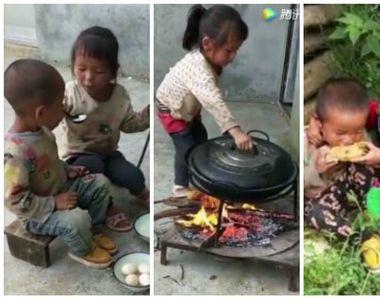 Imaginile care au emotionat intreaga lume! O fetita de nici 5 anisori gateste si isi...