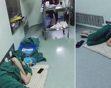 Imaginea care a cucerit internetul! Acest medic a adormit pe podea, dupa o tura de 28...