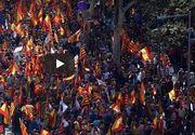 Mii de persoane manifesteaza la Barcelona pentru unitate si împotriva declararii independentei Cataloniei.