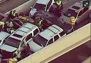 A nins pentru prima oara dupa 12 in Texas! Soferii nu au stiu cum sa conduca si au provocat un accident in lant pe autostrada