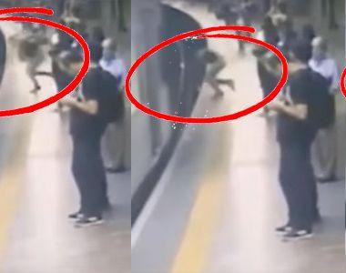 Inca un atac criminal la metrou - O alta femeie a fost impinsa in fata trenului - Scena...