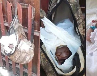 Bebelus nascut de doar o zi, gasit intr-o punga atarnata de un gard. Un gunoier a fost...