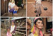 """""""Femeile-girafa"""" din Burma (Myanmar). Inelele grele de alama le intind femeilor gatul in semn de frumusete si statut social"""