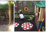 Cu mai putin de 300 de dolari si cu multa imaginatie, doi parinti au creat un minunat loc de joaca pentru copii in curtea casei