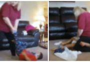 Ii schimba scutecul stand cu fundul pe fata lui si il tara de picioare prin casa. Asa se purta o bona cu un baietel de 4 ani care sufera de sindromul Down si de epilepsie