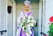 """""""Varsta este doar un numar"""": O femeie de 86 de ani s-a casatorit intr-o superba rochie, creatie proprie"""