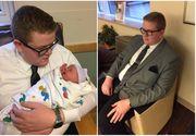 Un adolescent a mers la spital sa isi vada nepotica pentru prima data imbracat in costum. Motivul e fabulos