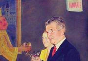 Povestea celui mai nebun tablou al lui Nicolae Ceausescu! Artistul plastic l-a pictat de dictator in timp ce acesta ciocnea un pahar cu vin cu Stefan cel Mare!