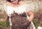 Ce i s-a intamplat acestei gravide dupa ce 20.000 de albine s-au asezat pe burta ei!