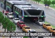 Chinezii au construit mega autobuzul care permite masinilor sa circule pe sub el