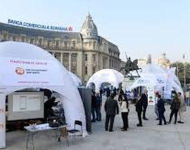 Aglomeratie in Piata Universitatii la evenimentul organizat de Bursa de Valori...