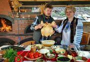 Retete romanesti din tinutul Neamtului. Pui pe sare, tocanita din ardei copti si branzica cu afine, intr-un desert delicios