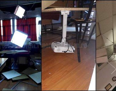 Clipe de panică la o școală din Buzău! Tavanul s-a prăbușit peste elevi, chiar în timp...