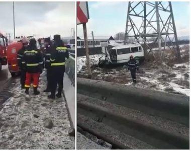 Accident cu 7 victime la Bascov! Un microbuz  plin cu pasageri  a derapat și s-a oprit...
