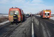 Accident în lanț pe DN1. O femeie a ajuns la spital