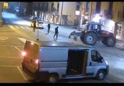 Românul care a spart o bancă din Italia cu tractorul, prins în Olt