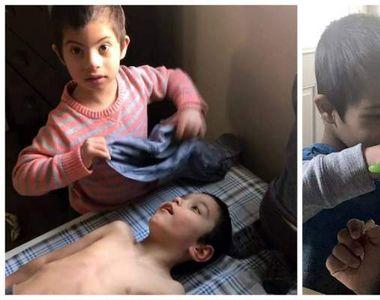 Simon are patru ani, suferă de sindromul Down, dar el este cel care își hrănește și...