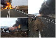 Accident CUMPLIT pe DN6! Două TIRuri au fost cuprinse de flăcări după ce s-au ciocnit