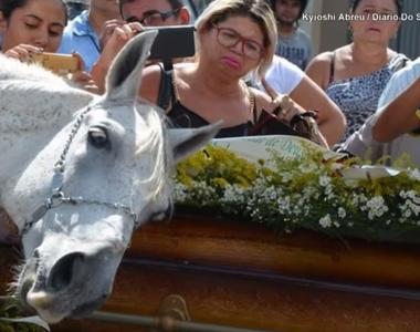 Imagini sfâșietoare de la înmormântare! A murit în accident de mașină, iar calul lui a...