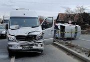 Accident la Cluj! Un microbuz de pasageri și un autoturism s-au ciocnit violent! Mai multe persoane au fost rănite!