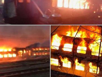 ULTIMĂ ORĂ! Incendiu puternic în gara! Mai multe vagoane de tren au fost afectate