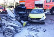 Accident grav în Constanța, cu 4 victime. Un motociclu a luat foc