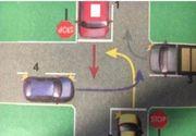 Ai permis? 8 din 10 șoferi pică acest test! Tu știi în ce ordine trebuie să treacă autovehiculele în intersecția prezentată?