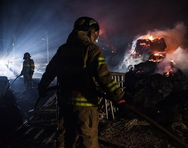 VIDEO   Pompierul peste care a căzut un trunchi de copac ars a fost transferat la Viena